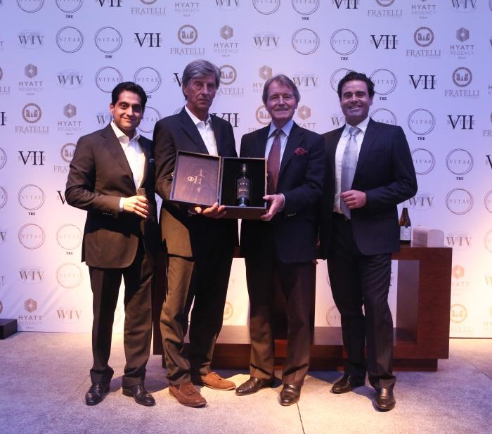 Kapil Sekhri, Piero Masi, Steven Spurrier & Alessio Secci unveiling the new vintage Sette 2011