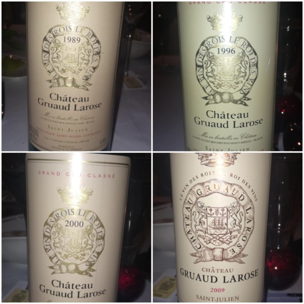 Some of the Vintages of Chateau Gruaud Larose served at the dinner