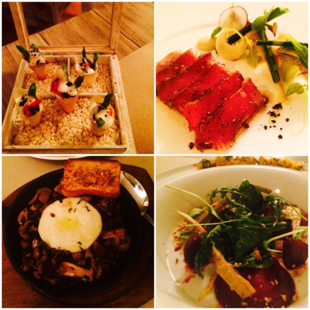 Amuse Bouche, Andaman Tuna, Melting Camembert & Beetroot Carpaccio