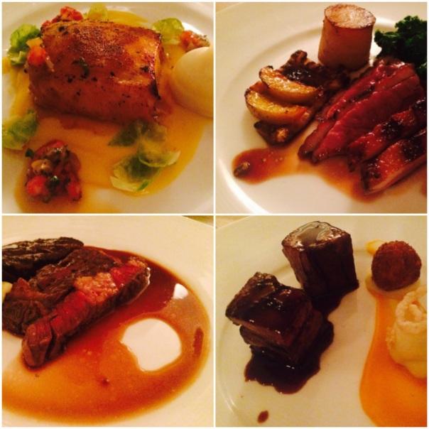 Chilean Sea Bass : Mscovy Duck Breast : Irish Angus Sirloin : Braised Belgium Pork Belly