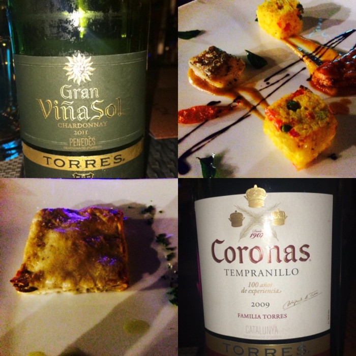 Vino Sol 2011 paired with roasted Sea Bass : Truffle Scented Mushroom Cheese Lasagna with Coronas 2009