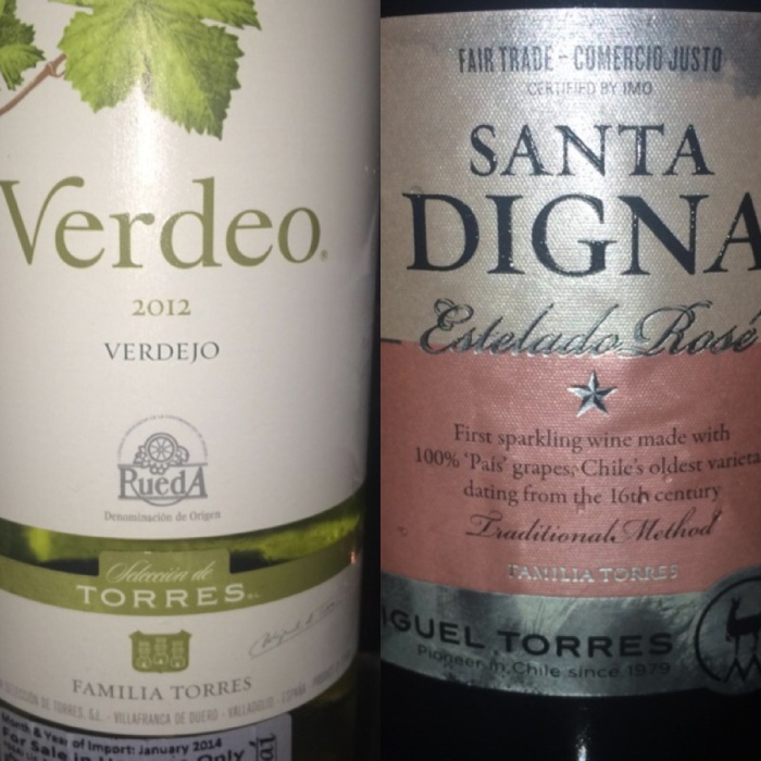 Verdeo 2012 from Rueda DO Spain & Estelado Rose from Miguel Torres Chile