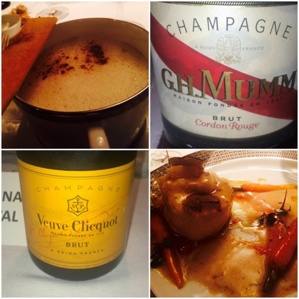 Mushroom Soup paired with GH Mumm & Champagne poached Sea Bass with Veuve Cliquot Brut
