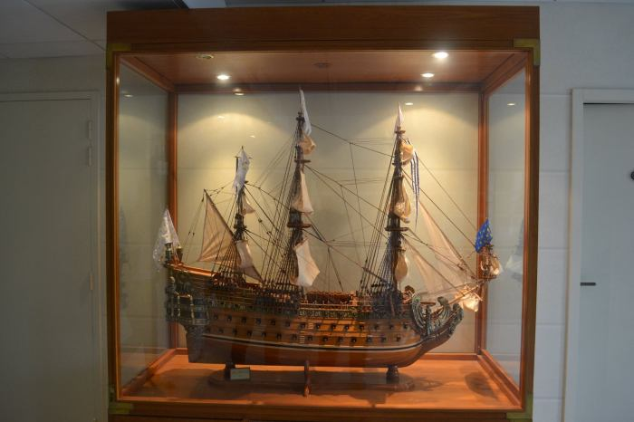 A replica of the sailing vessel on the wine label of Malartic Lagraviere Photo Credit Rajiv Kehr