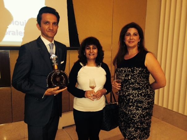 """With Christophe Bourrie, Regional Director( SEA,India & Middle East) of Louis XIII and Marie Amelie Jacquet, Financial Planning & Analysis Manager Global Travel Retail Division Remy Cointreau at the launch function of """"Quest for a Legend"""""""