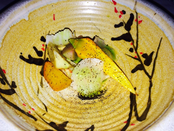 """Roots from """"The Green Bean Farm"""", Scallops, Fermented Garlic, Wild Chive Emulsion"""