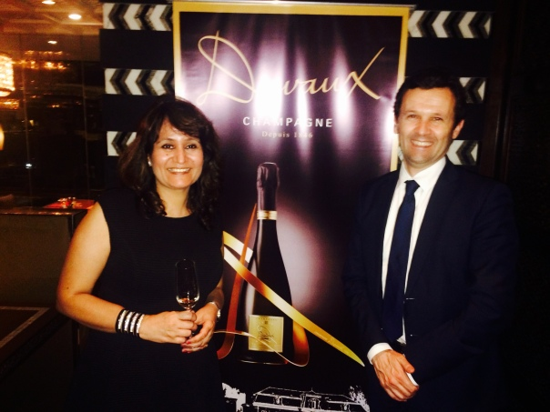 With Jean-Noel Girard, Director Export of Champagne Veuve A. Devaux at the launch of Collection D at Leela Gurgaon