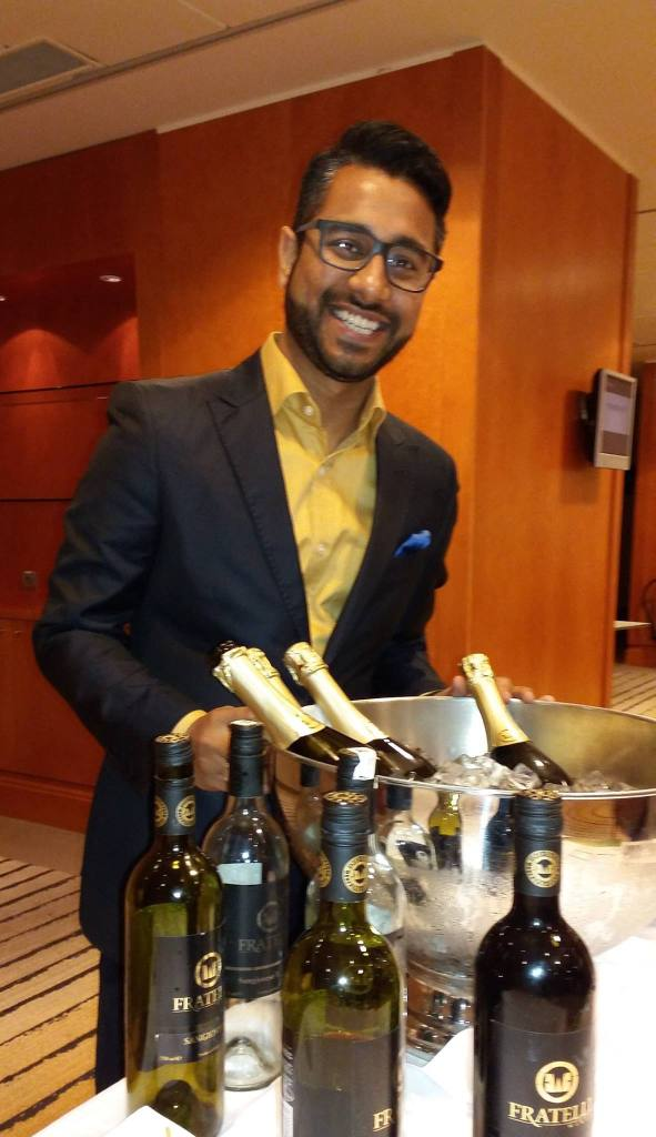 Abhishek Haryson, Senior Manager Corporate Communication & Marketing, Fratelli Wines showcasing the wines at Sheraton Stockholm during India Unlimited