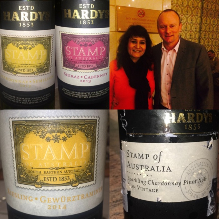 With Nick Pringle, Commercial Director of Accolade Wines, parent company to Hardys Wines of Australia : Hardys Stamp of Australia range available in India