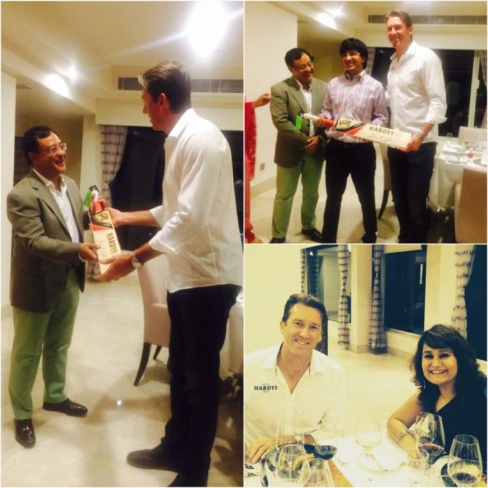Glenn McGrath, brand ambassador of Hardys Wines presenting a memento to wine aficionado Rajiv Kehr, who had organised a private dinner in Glenn's honor.
