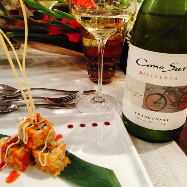 Cono Sur Bicicleta Chardonnay 2014 paired with Spicy Tuna Uramaki, superbly prepared by chef Vaibhav Bhargava of Pan Asian, Sheraton New Delhi