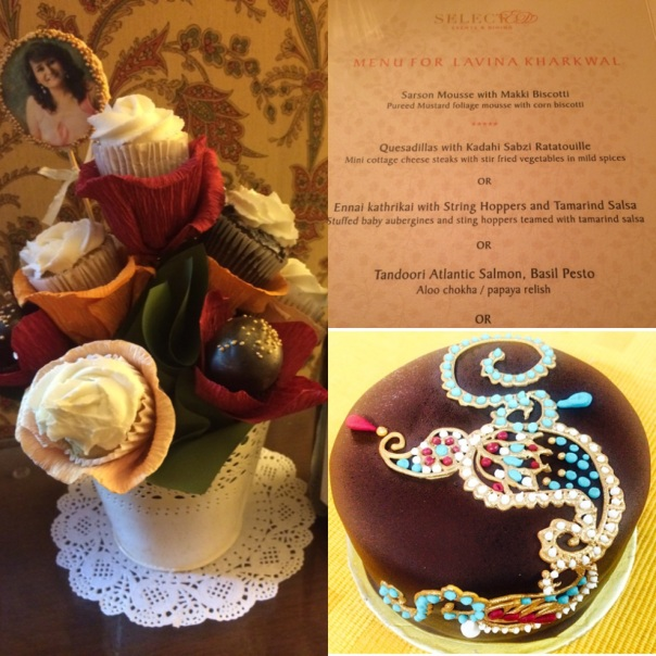 Cupcake Bouquet, Bespoke Menu and a Cake which tasted as good as it looked.