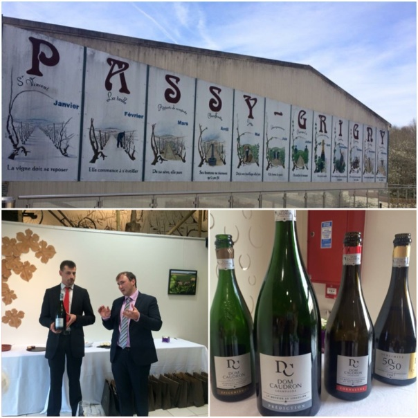 Enotourism Manager Victor Canchon & Export Manager Bastien Jacques explaining the different cuvees made by Dom Caudron featuring Pinot Meunier