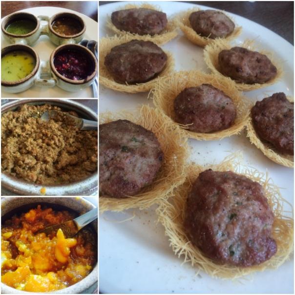 Chutneys made from cranberry, pineapple, spring onion & mint ; Hari mirch ka qeema Kacche keeme ki tikiya ; Aloo ka Zarda