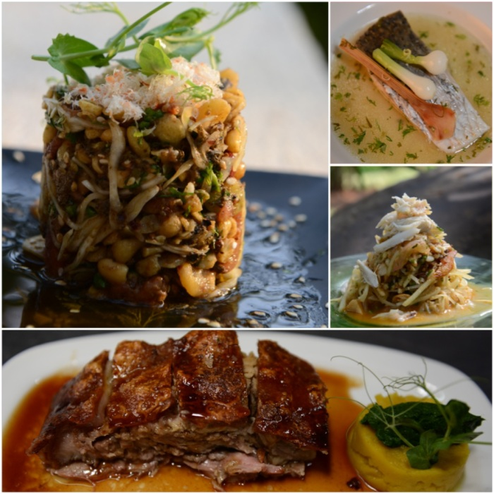 Pickled Tea Leaf Salad; Steamed Snapper; Spicy raw mango salad with crab meat ; Slow Roasted Pork : Photos Courtesy The Park