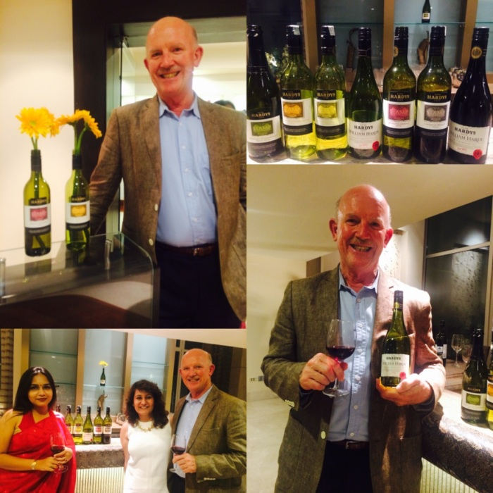 Bill Hardy in a relaxed and happy mood at the Wine Dinner at Le Meridien Gurgaon. With Bill Hardy and Prarrthona Pal Chowdhury of Sula Selections