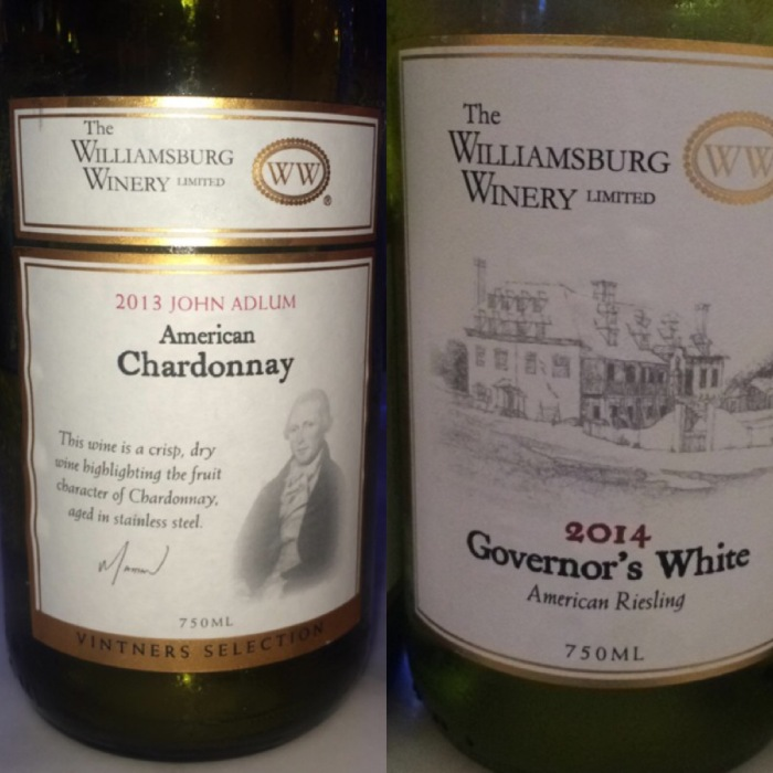 Wines from Williamsburg Winery Virginia USA