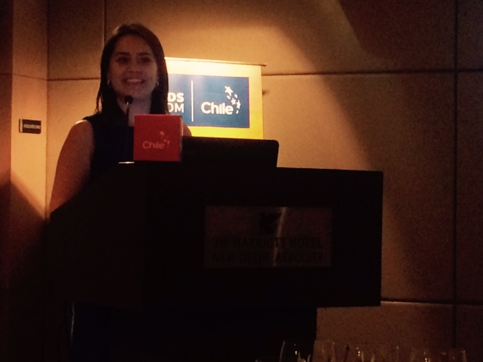 Carolina Vasquez, Director Prochile India speaking at the Chilean Wine Masterclass at JW Marriott New Delhi