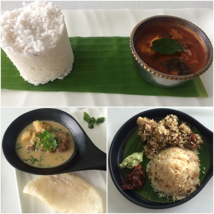 Chemeen Mulaku Curry (Prawn Curry with Puttu) Mutton Ishtu with Pathiri, Thalassery Mutton Dum Biryani