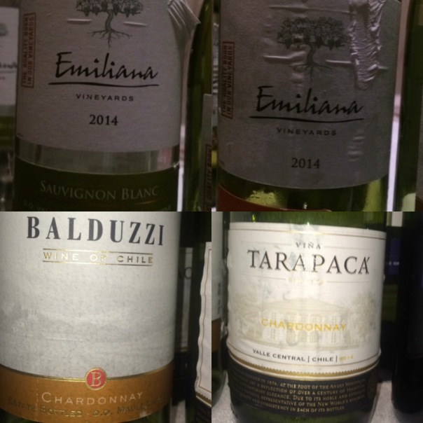Chilean White Wines served at the Masterclass