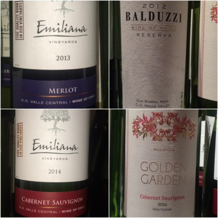 Some red wines from Chile that we tasted at the Masterclass