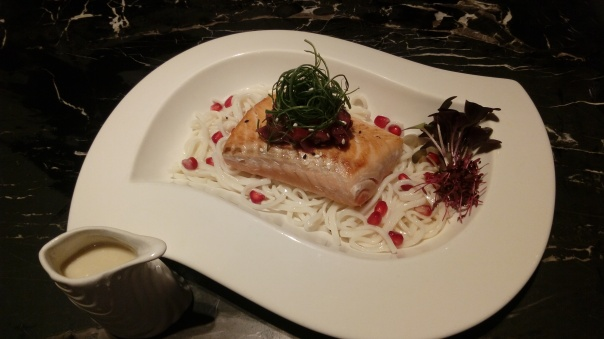 Smoked Salmon with Berry Ratatouille and Inaniwa Udon : Photo courtesy Akira Back