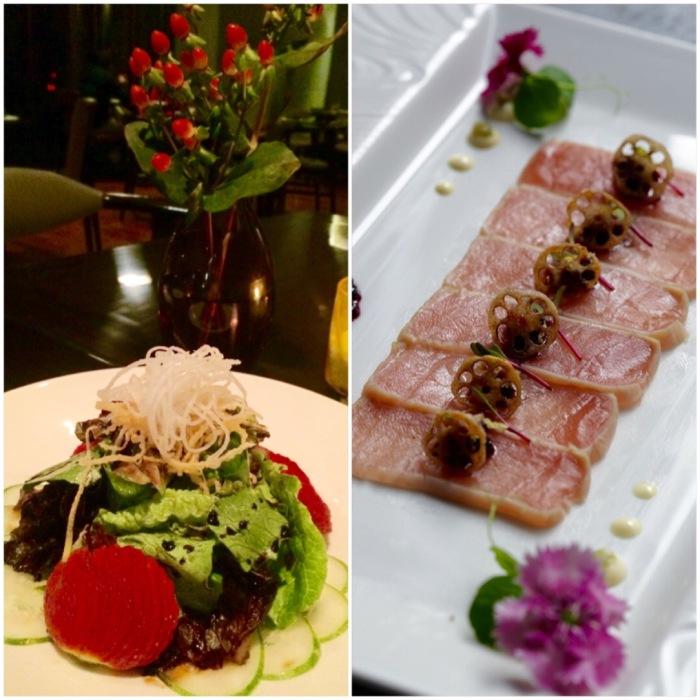 Strawberry Salad & Tuna Tataki with Berry Tosazu