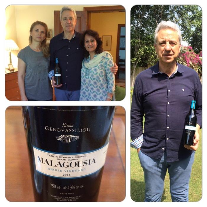 Vangelis Gerovassiliou & his wife with their award winning wine Malagousia 2015