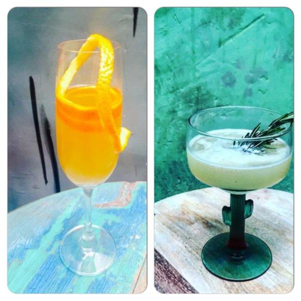 Wasabi Mimosa (Orange, Wasabi Infused Vodka & Sparkling Wine) ; Aomorotini (Gin, Green Apple, Rosemary, Lime)
