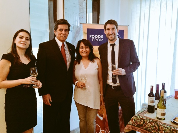 Launch of Cono Sur Bicicleta Cabernet Sauvignon by Sula Selections at Embassy of Chile New Delhi. With Carolina Vasquez Director ProChile India, H.E Andres Barbe Gonzalez Ambassador of Chile & Jose Tomas Gillet, Export Manager Asia Cono Sur