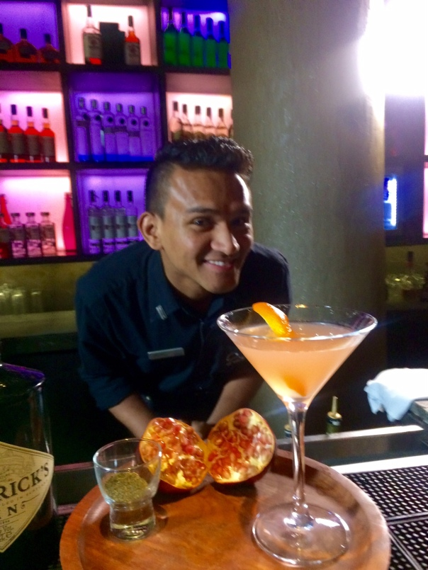 Pomegranate Green Tea made by Jitender Singh, one of India's top bartenders at the Story Club and Lounge, The Westin Gurgaon