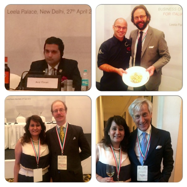 In the picture Sommelier Atul Tiwari, Italian Trade Commissioner Francesco Pensabene with Chef Diego Martinelli, Lavina Kharkwal with Martino Castellani Deputy Trade Commissioner & Paolo Bruni President CSO