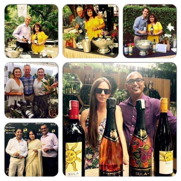Cecilia Oldane, VP Marketing & Brand Ambassador Sula with Ajoy Show, Chief winemaker Sula Vineyards. Representatives from Accolade Wines, Bouchard Aine & Fils, Le Grand Noir and Trapiche ; Team Sula Selection