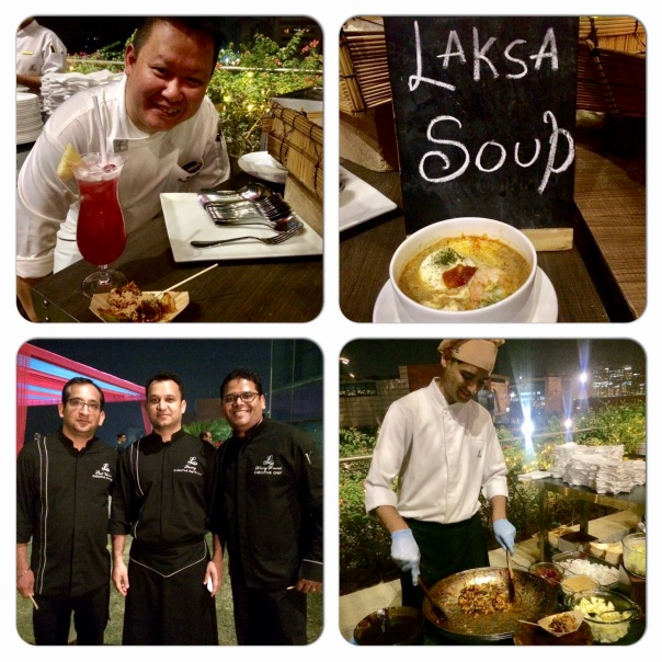 Executive Sous Chef of The Fullerton Hotel Singapore, Richarg Ng with Executive Chef Neeraj Rawoot, Executive Pastry Chef Anurag Bhartwal & Executive Sous Chef Amit Wadhera of The Leela Ambience Gurgaon at the Opening Cocktail Party of Singapore Surprise