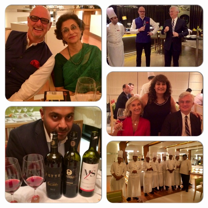Sangiovese Trial by Fratelli Wines. In the photographs Craig Wedge Brand Director Fratelli Wines, Reva Singh Editor Sommelier India, Isabel & Tristan Beau de Lomenie, Chefs of Pullman New Delhi Aerocity.