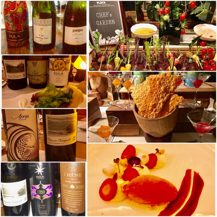 The Wines from Sula, Grover Zampa, York and Charosa ; Chef's Garden at Pluck; Caviar and Dessert