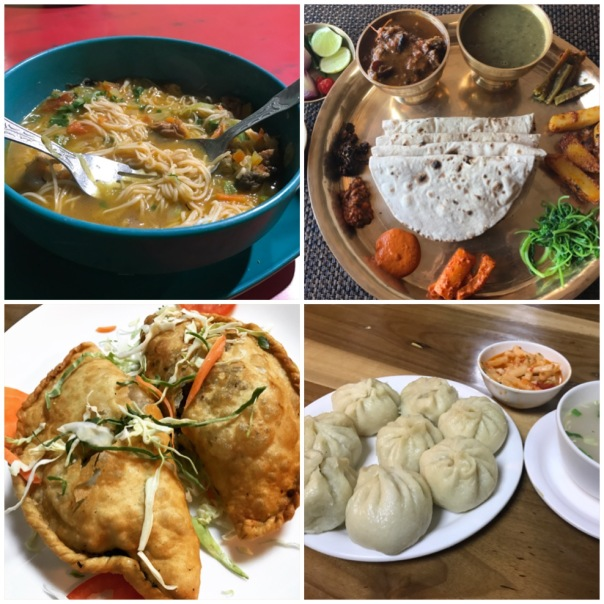 Thukpa, Momos, Shaphaley and Thakali Thali (Nepalese cuisine)