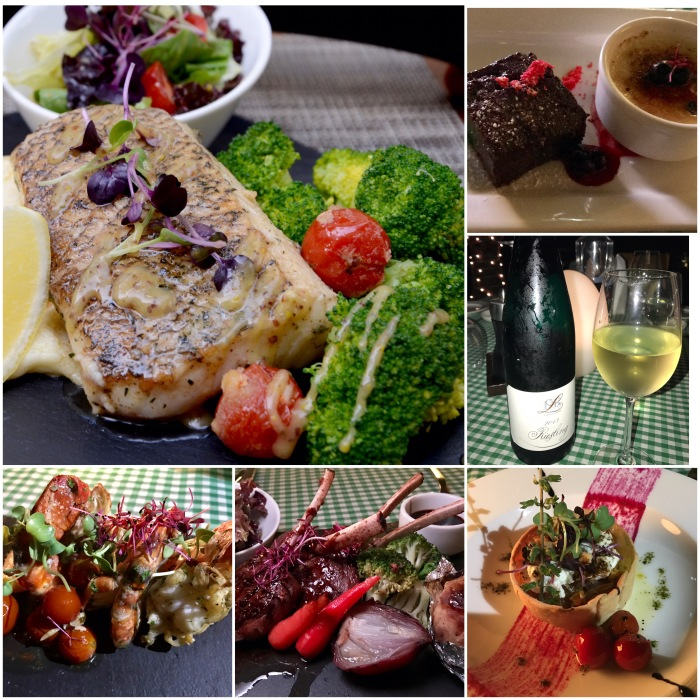 Grilled Sea Bass; Grilled Prawns; New Zealand Lamb Chops, Goat Cheese Tart, Dr Loosen Riesling, Dessert Platter with Creme Brulee & Valrhona Chocolate Mousse.